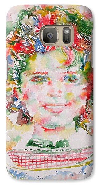 Shirley Temple - Watercolor Portrait.1 Galaxy S7 Case by Fabrizio Cassetta