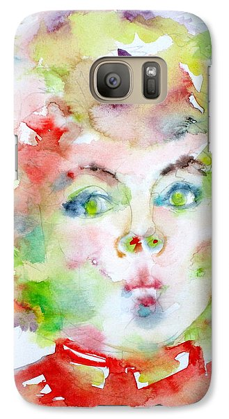 Shirley Temple - Watercolor Portrait.2 Galaxy Case by Fabrizio Cassetta