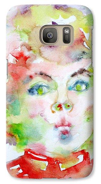 Shirley Temple - Watercolor Portrait.2 Galaxy S7 Case by Fabrizio Cassetta