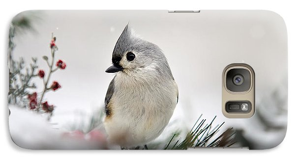 Snow White Tufted Titmouse Galaxy S7 Case by Christina Rollo
