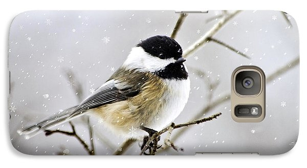 Snowy Chickadee Bird Galaxy Case by Christina Rollo