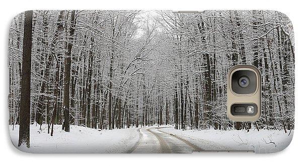 Snowy Road In Oak Openings 7058 Galaxy Case by Jack Schultz