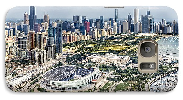Soldier Field And Chicago Skyline Galaxy Case by Adam Romanowicz
