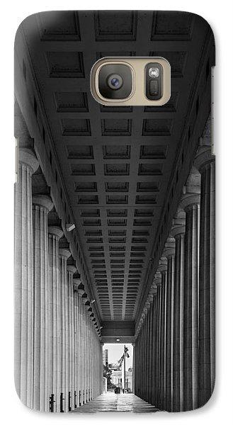 Soldier Field Colonnade Chicago B W B W Galaxy Case by Steve Gadomski