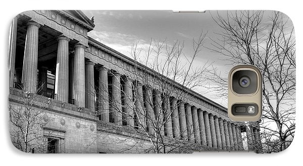 Soldier Field In Black And White Galaxy Case by David Bearden