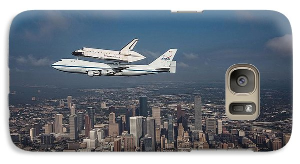 Space Shuttle Endeavour Over Houston Texas Galaxy S7 Case by Movie Poster Prints