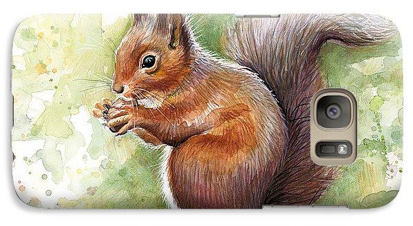 Squirrel Watercolor Art Galaxy S7 Case by Olga Shvartsur