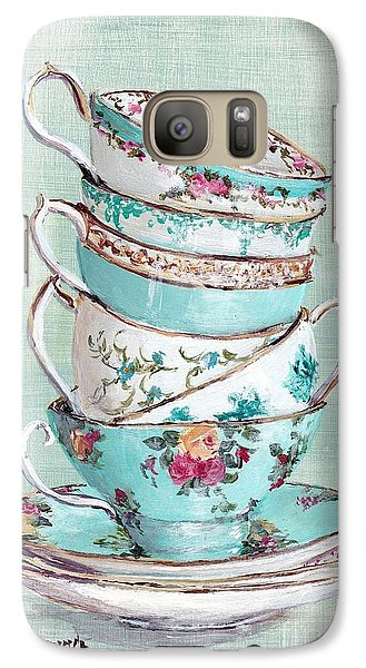 Stacked Aqua Themed Tea Cups Galaxy S7 Case by Gail McCormack