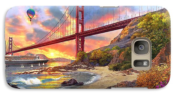 Sunset At Golden Gate Galaxy Case by Dominic Davison