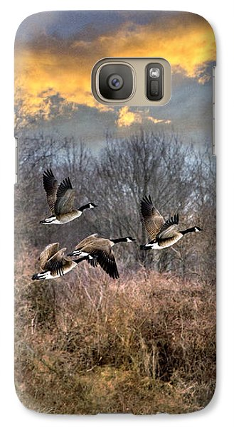 Sunset Geese Galaxy Case by Christina Rollo
