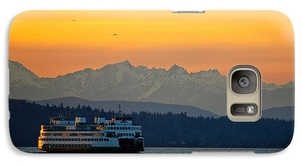 Sunset Over Olympic Mountains Galaxy Case by Dan Mihai
