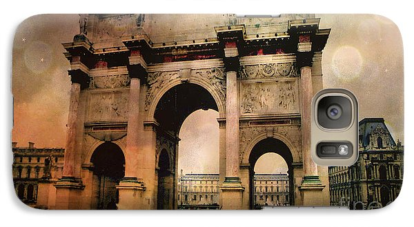 Surreal Paris Arc De Triomphe Louvre Arch Courtyard Sepia Soft Bokeh Galaxy Case by Kathy Fornal