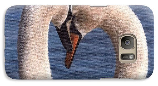 Swans Painting Galaxy Case by Rachel Stribbling