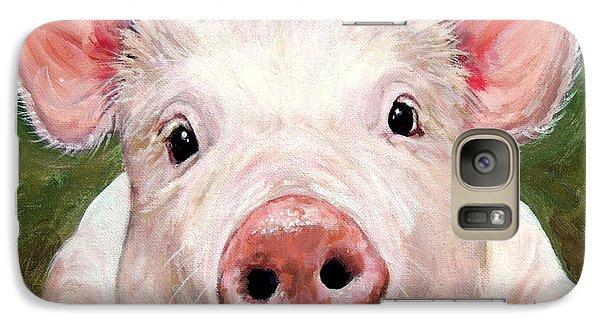 Sweet Little Piglet On Green Galaxy Case by Dottie Dracos
