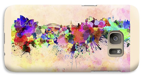 Sydney Skyline In Watercolor Background Galaxy Case by Pablo Romero
