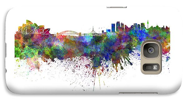 Sydney Skyline In Watercolor On White Background Galaxy Case by Pablo Romero