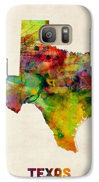 Texas Watercolor Map Galaxy S7 Case by Michael Tompsett