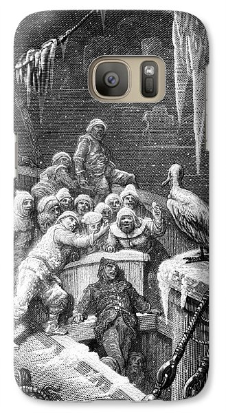 The Albatross Being Fed By The Sailors On The The Ship Marooned In The Frozen Seas Of Antartica Galaxy S7 Case by Gustave Dore