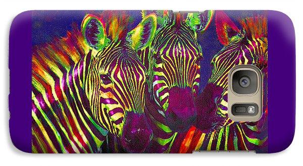 Three Rainbow Zebras Galaxy Case by Jane Schnetlage
