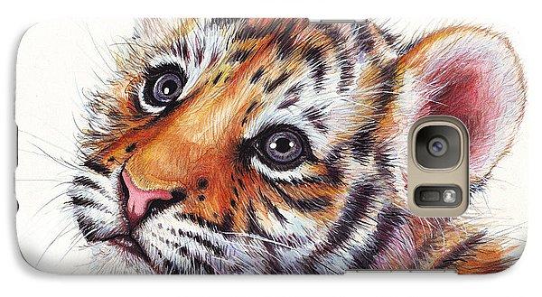 Tiger Cub Watercolor Painting Galaxy Case by Olga Shvartsur