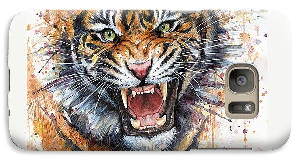 Tiger Watercolor Portrait Galaxy S7 Case by Olga Shvartsur