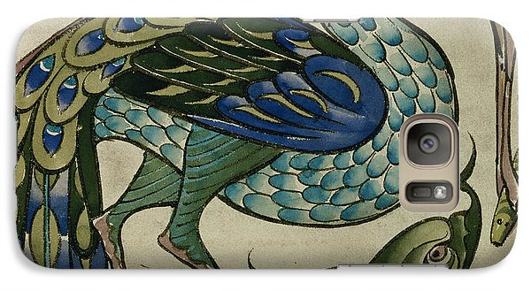 Tile Design Of Heron And Fish Galaxy Case by Walter Crane