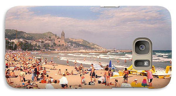 Tourists On The Beach, Sitges, Spain Galaxy Case by Panoramic Images