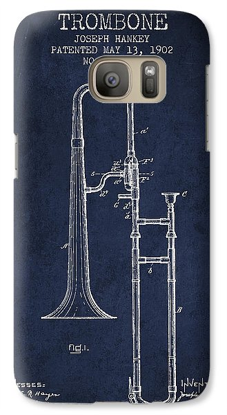 Trombone Patent From 1902 - Blue Galaxy S7 Case by Aged Pixel