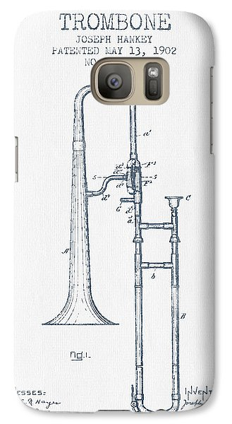 Trombone Patent From 1902 - Blue Ink Galaxy S7 Case by Aged Pixel