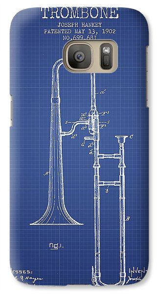 Trombone Patent From 1902 - Blueprint Galaxy S7 Case by Aged Pixel