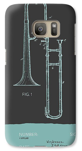 Trombone Patent From 1902 - Modern Gray Blue Galaxy S7 Case by Aged Pixel