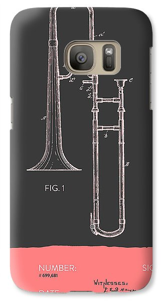 Trombone Patent From 1902 - Modern Gray Salmon Galaxy S7 Case by Aged Pixel
