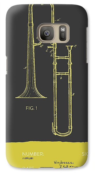 Trombone Patent From 1902 - Modern Gray Yellow Galaxy S7 Case by Aged Pixel