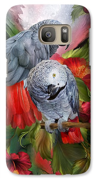 Tropic Spirits - African Greys Galaxy Case by Carol Cavalaris