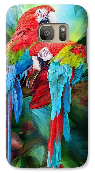 Tropic Spirits - Macaws Galaxy Case by Carol Cavalaris