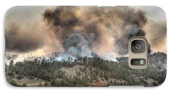 Galaxy Case featuring the photograph Two Smoke Columns White Draw Fire by Bill Gabbert