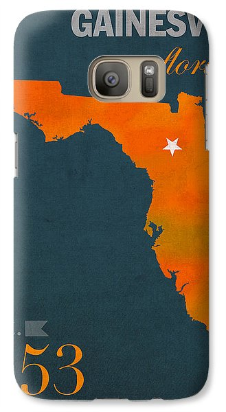University Of Florida Gators Gainesville College Town Florida State Map Poster Series No 003 Galaxy S7 Case by Design Turnpike