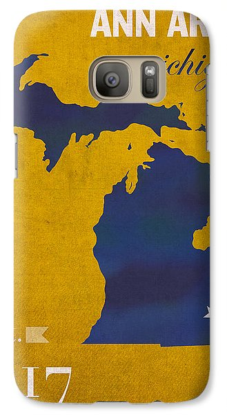 University Of Michigan Wolverines Ann Arbor College Town State Map Poster Series No 001 Galaxy S7 Case by Design Turnpike