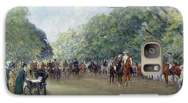 View Of Hyde Park With Figures On Rotten Row  Galaxy Case by Albert Jnr Ludovici
