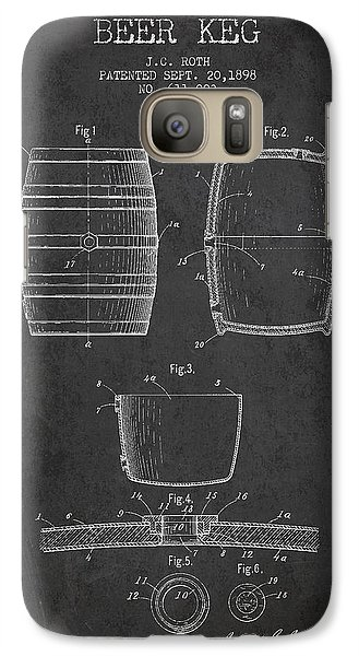 Vintage Beer Keg Patent Drawing From 1898 - Dark Galaxy S7 Case by Aged Pixel