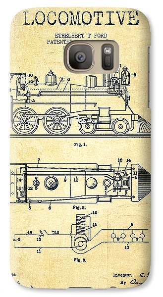 Vintage Locomotive Patent From 1904 - Vintage Galaxy S7 Case by Aged Pixel