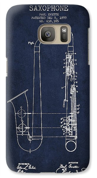 Saxophone Patent Drawing From 1899 - Blue Galaxy S7 Case by Aged Pixel