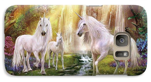 Waaterfall Glade Unicorns Galaxy Case by Jan Patrik Krasny