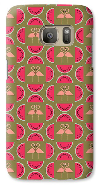 Watermelon Flamingo Print Galaxy S7 Case by Susan Claire