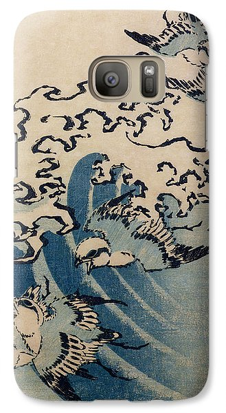 Waves And Birds Galaxy Case by Katsushika Hokusai