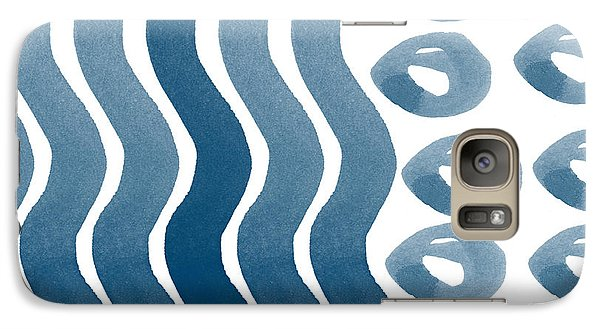 Waves And Pebbles- Abstract Watercolor In Indigo And White Galaxy Case by Linda Woods