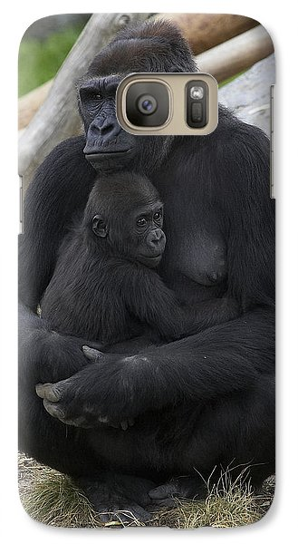 Western Lowland Gorilla Mother And Baby Galaxy Case by San Diego Zoo