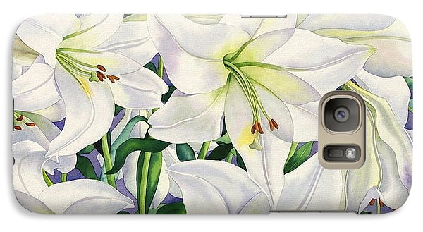 White Lilies Galaxy Case by Christopher Ryland