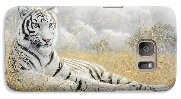 White Tiger Galaxy Case by Lucie Bilodeau