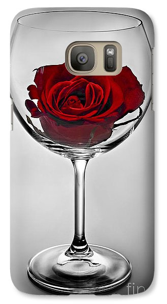 Wine Glass With Rose Galaxy Case by Elena Elisseeva